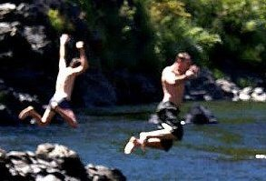 Jumping in the Illinois River at Grants Pass Oregon