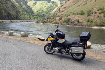 bmw r 1200 gs bike next to salmon river