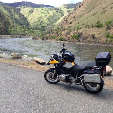 bmw r 1200 gs bike next to salmon river