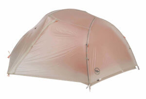 This best backpacking tent image shows the Big Agnes Copper Spur 2 Platinum tent with a rain fly