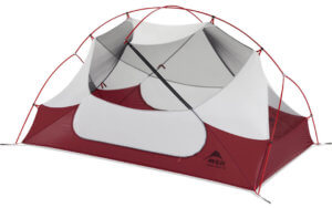 This best backpacking tents image shows the MSR Hubba Hubba NX 2-person tent without a rain fly