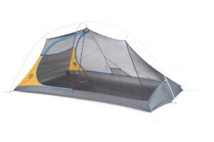 This best backpacking tent image shows the NEMO Hornet Elite 2-person tent without a rainy fly