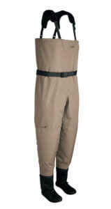 This fly fishing waders image shows the entry-level Cabela's Premium Breathable Stockingfoot Waders.
