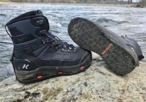 This best wading boot guide photo shows the Korkers WRAPTR Wading Boots.
