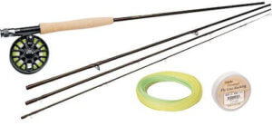 This fly fishing gift shows the Cabela's Three Forks Fly Rod and Prestige Reel Combo.