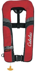 This fly fishing gift idea shows the Cabela's Angler 2500 Auto Inflatable Life Vest.