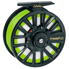 This beginner fly reel photo shows the Cabela's Prestige Plus Fly Reel.