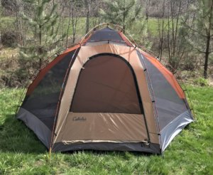 This best camping tent photo shows the Cabela's West Wind 6-Person Dome Tent setup without the rain fly.