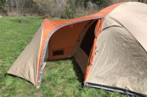 This best camping tent photos shows the vestibule portion of the Cabela's West Wind Dome Tent.