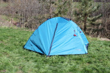 This is an image of the Cabela's Orion 2 Backpacking Tent fully setup.