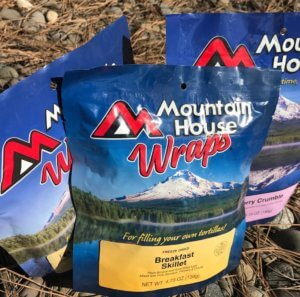 This image shows backpacking food freeze-dried mountain house meals.