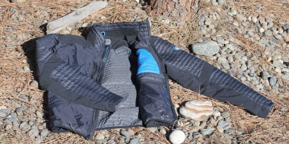 This image shows the entire KUHL FIREFLY jacket on the ground.