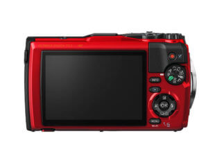 This image shows the back side of the red Olympus Tough TG-5 waterproof camera.