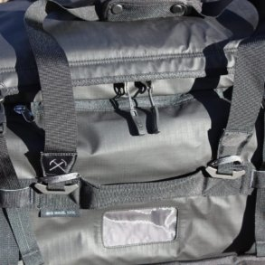 This image shows a close-up of the REI Co-op Big Haul 120 Duffel in black.