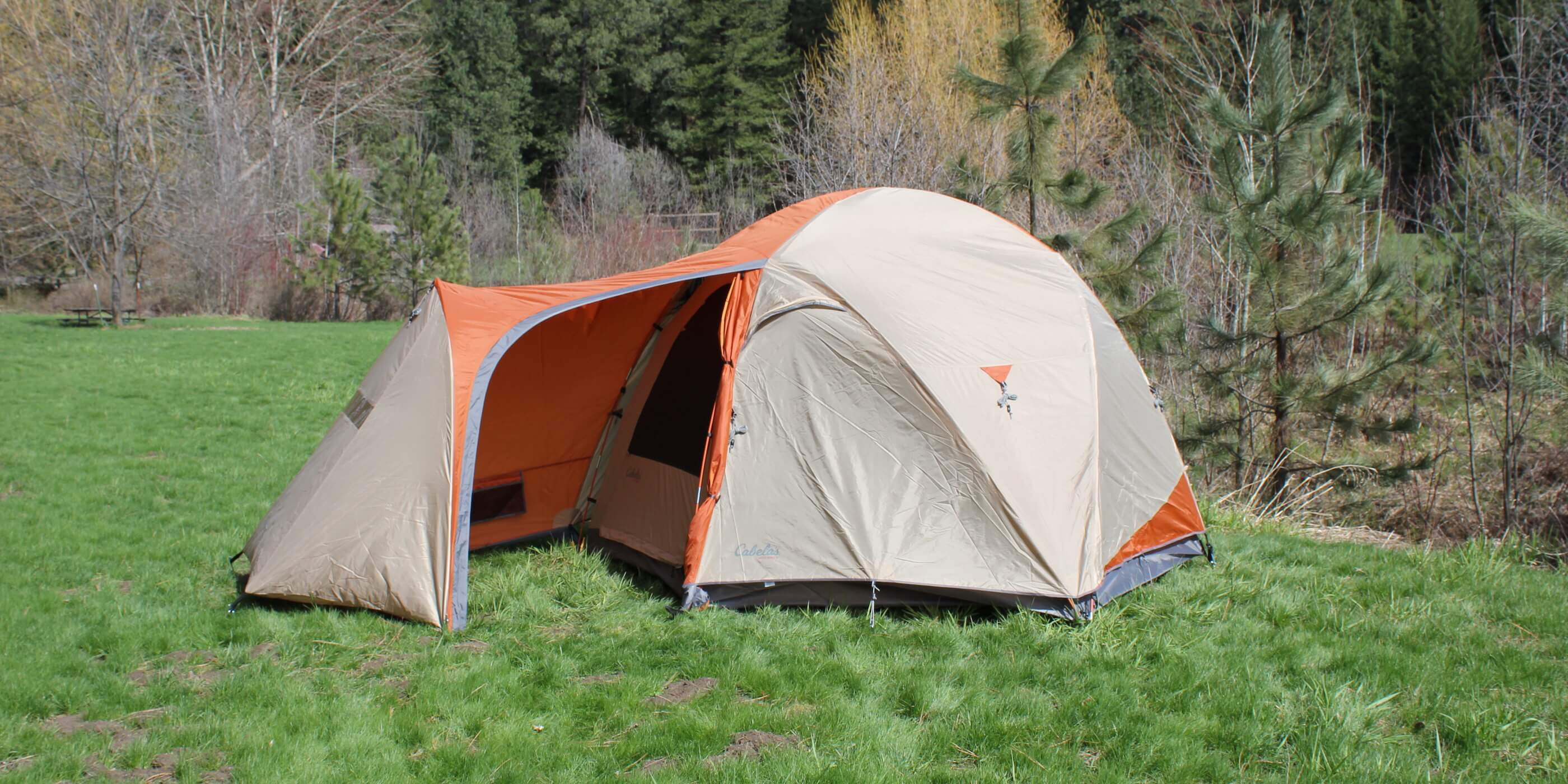 This image shows the Cabelau0027s West Wind Dome Tent in the 6-person version outside & Cabelau0027s West Wind Dome Tent Review - Man Makes Fire
