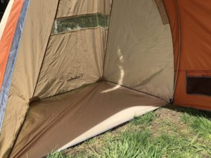 This Cabela's West Wind Dome Tent review photo shows the inside of the tent's vestibule.