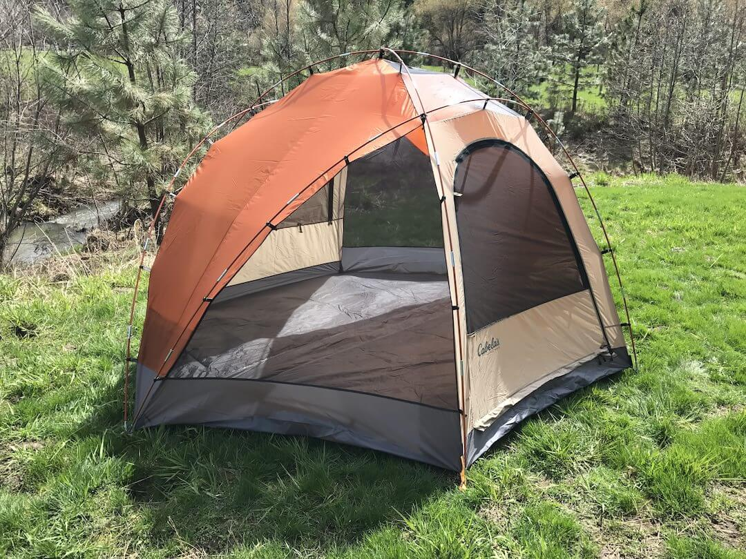 This Cabelau0027s West Wind Dome Tent review photo shows a side profile outside without the rain & Cabelau0027s West Wind Dome Tent Review - Man Makes Fire