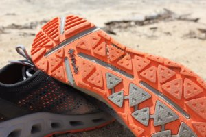This best water shoe image shows the rugged sole on the Columbia Drainmaker III water shoe.