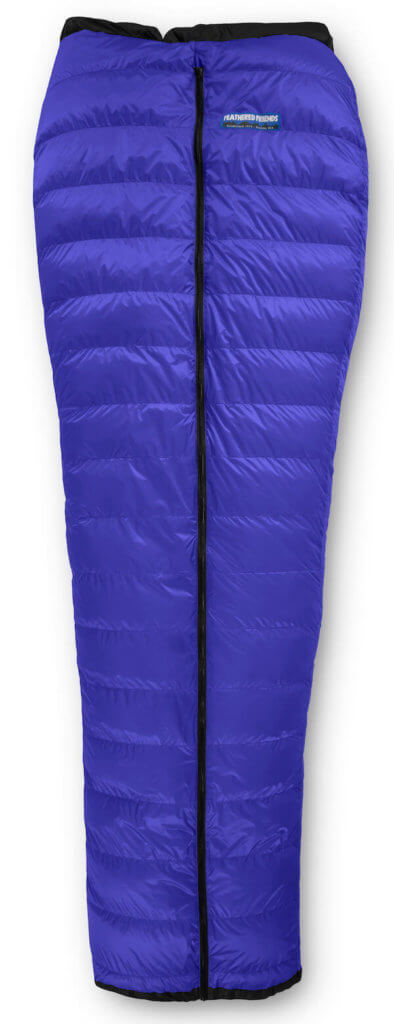 This image shows the Feathered Friends Flicker down quilt sleeping bag.