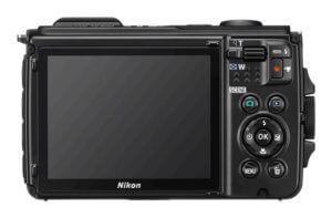 This image shows the back of the Nikon COOLPIX W300 waterproof camera.