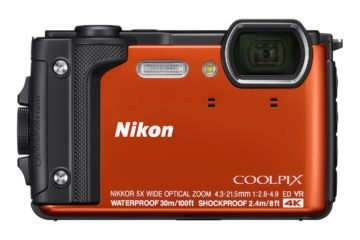 This image shows the front view of the Nikon COOLPIX W300 waterproof camera.