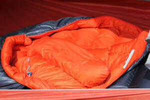 This photo shows the REI Magma 10 sleeping bag hood and insulated yoke.