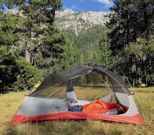This image shows the REI Magma 10 sleeping bag inside a tent in the Eagle Cap Wilderness.