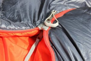 This photo shows a close-up of the REI Co-op Magma 10 Sleeping Bag zipper.