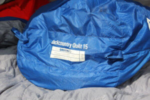 This photo shows the foot box of the Sierra Design Backcountry Quilt 700.