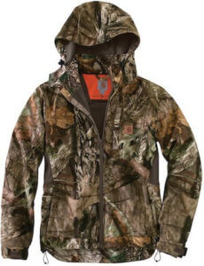 This hunting gift photo shows the Carhartt Buckfield Camo Jacket with Mossy Oak camo for hunters.