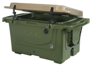 This photo shows the Olive/Tan Cabela's Polar Cap Equalizer Cooler on a white background.