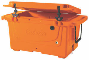 This image shows the orange Cabela's Polar Cap Equalizer Cooler on a white background.