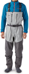 This photo shows the Patagonia Rio Gallegos Zip-Front men's fishing waders.