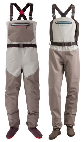 This fishing waders image show the Redington Sonic-Pro men's wader next to the Redington Sonic-Pro women's wader.
