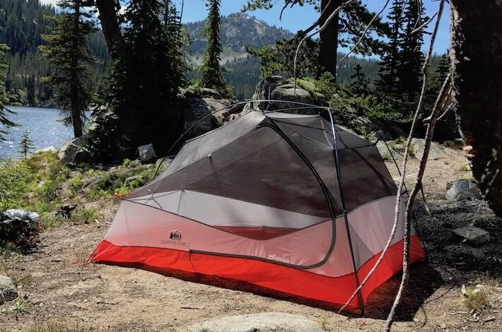 This photo shows the REI Co-op Quarter Dome 2 backpacking tent near a mountain & REI Co-op Quarter Dome 2 Tent Review - Man Makes Fire