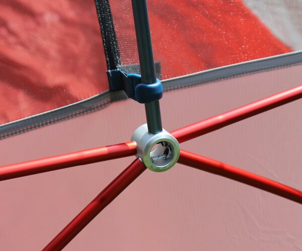 This photo shows a close-up of the hub on the REI Quarter Dome 2 & REI Co-op Quarter Dome 2 Tent Review - Man Makes Fire
