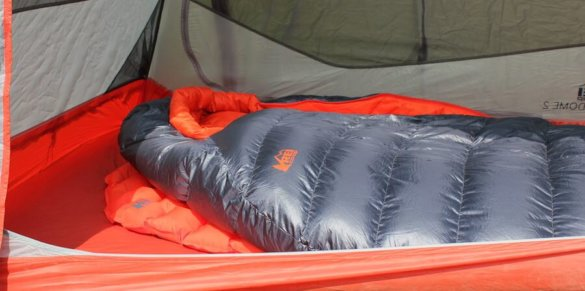 This image shows the REI Quarter Dome 2 Tent with an REI backpacking sleeping pad and REI backpacking sleeping bag.