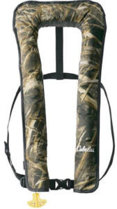 This fly fishing gift idea shows the Cabela's Essential 2500 Manual Inflatable Life Vest.