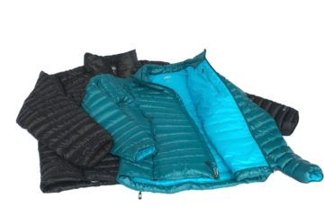 This image shows a men's REI Co-op Magma 850 down jacket next to a women's REI Co-op Magma 850 down jacket.