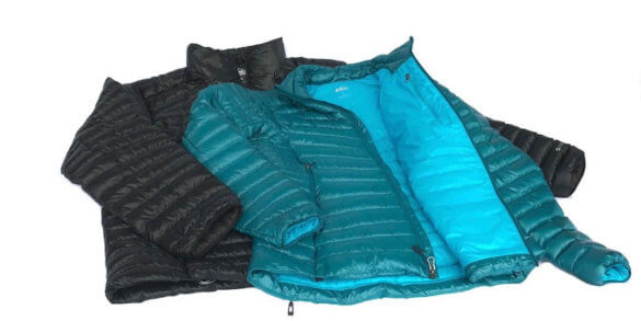 This image shows the men's and women's REI Co-op Magma 850 down jackets.