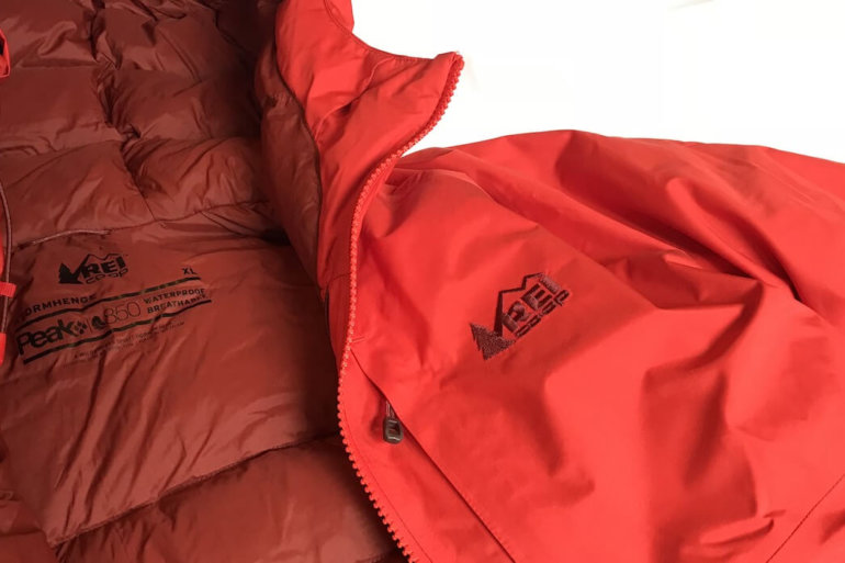 This photo shows a closeup of the REI Co-op Stormhenge 850 Down Jacket men's version.