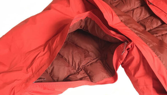 This photo shows the pit zips on the men's REI Co-op Stormhenge 850 Down Jacket.