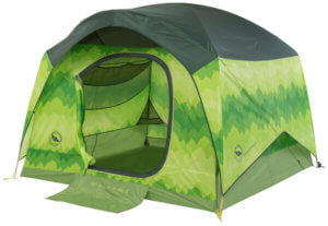 This best camping tent photo shows the Big Agnes Big House Deluxe 4-Person Tent set up with the door open.