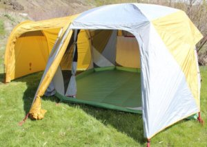 This best camping tent photo shows the Eureka! Boondocker 6 Person Tent set up with the doors open.