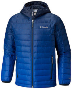 This best down jacket photo shows the Columbia Voodoo Falls 590 TurboDown Hooded Jacket in the men's Navy Topo Fade Print color option.
