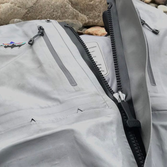 This photo shows the zipper on the Patagonia Rio Gallegos Zip-Front Waders.