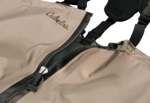This image shows the Cabela's Premium Zip Breathable Stockingfoot Waders zipper.