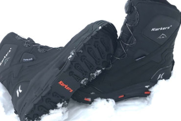 This image shows the Korkers Polar Vortex 600 winter boots in the snow.