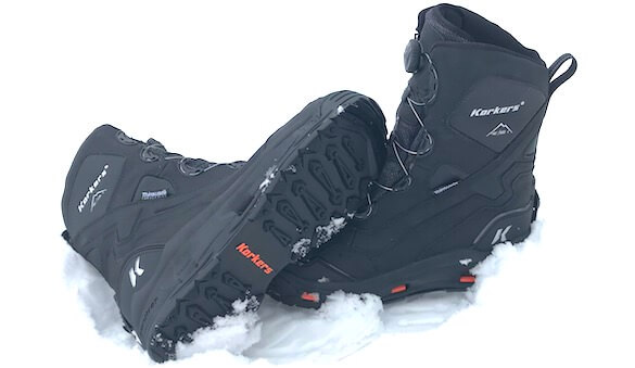 This photo shows the side and bottom of the Korkers Polar Vortex 600 boots.