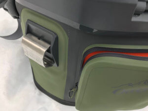 This image shows the pocket and bottle opener on the OtterBox Trooper 20 cooler.
